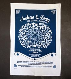 A twist on the traditional wedding invitation, this custom tea towel makes for a unique way to invite your guests to the big day. Customized with your wedding details, each cotton towel is printed with bright colors, making it a lovely souvenir for your guests.
