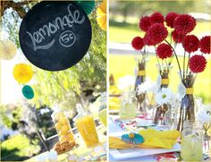 EVENT DECOR: birds and the bees baby shower lemon aid stand #candy_table