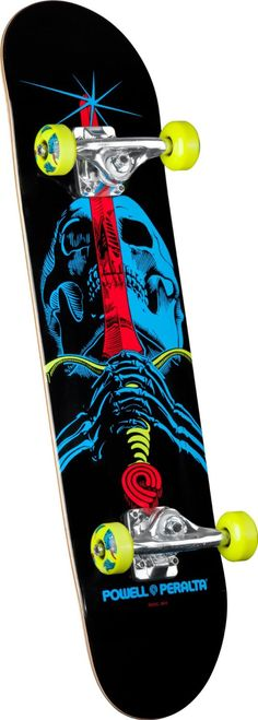 "Powell-Peralta Blacklight Skull and Sword Complete Skateboard Powell-Peralta 'Blacklight' assembly; High quality skateboard with the brand strength of Powell-Peralta; Equipped with Mini Logo trucks and bearings Length: 31.67"" Skate One Corp; Shape: 188 All Powell-Peralta products come with a ..."