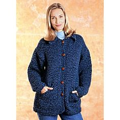 Sweater Jacket (Knit) - Lion Brand Yarn