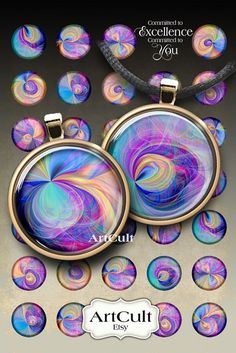 PURPLE FANTASY - 1 inch Digital Collage Sheet round Printable images for glass and resin pendants bottle caps magnets by ArtCult
