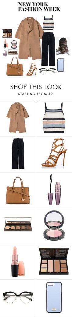 """""""New York Fashion Week Entry"""" by marinwofford ❤ liked on Polyvore featuring SUNO New York, Zimmermann, Dsquared2, Michael Kors, Maybelline and Dolce&Gabbana"""