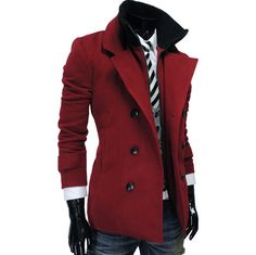 Mens Double Breasted Inner Padding Wine PEA Coat