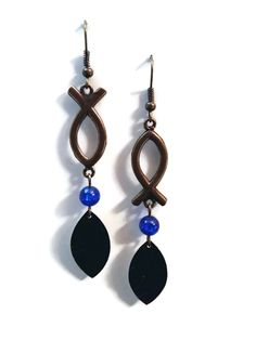 Boucles d'Oreilles Assymétriques - Nespresso - Poisson - Bronze - Bleu : Boucles d'oreille par cap-and-pap