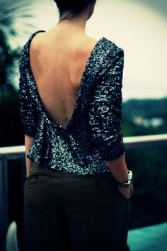 Top with gunmetal sequins and a low-back that's making me really want to incorporate sequins into my day-wear.