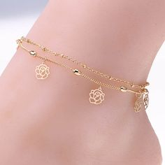 Anklet Double Rows Ankle Bracelet Cheville Hollow Flower Foot Jewelry Leg Chain Foot Jewelry Beach Anklets For Women Barefoot Sandals - Anklet Bracelet, Bracelets, Bracelet Friendship, Beach Style, Style Summer, Beach Foot Jewelry, Leg Chain, Jewelry Accessories, Women Jewelry