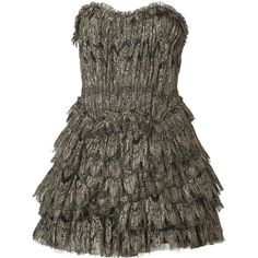 JAY AHR Black/Gold Lace and Tulle Dress ($2,222) ❤ liked on Polyvore