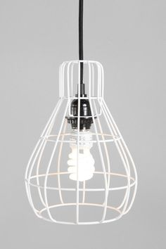 Cage Pendant Lamp UO.  I love the CB2 version too, but these can be plugged in instead of hardwired, and I can see a duo or trio staggered in a corner.  Love this.