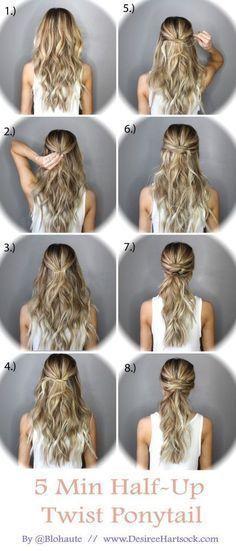 5 Minute Half Up Ponytail Twist hair long hair braids diy hair hairstyles hair tutorials easy hairstyles