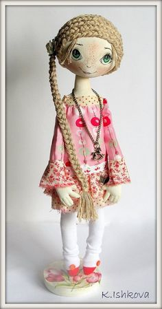 Textile Cloth Art  Doll
