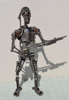 Hand Made BATTLE DROID - 10 Inches -Recycled Scrap Metal Art, created by Abdel Sayed Ahmed