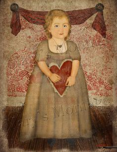 Naive style of early American folk art portrait. Valentine Girl, Americana Folkart. Print your own. Use to frame, cardmaking, decoupage etc. You