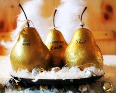 Faux Gilded Pears | Cupcakes and Crinoline #Christmas #gilded #holidays #decor
