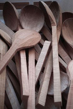 Spoon blanks which are yet to have been finished by Hiroyuki Sugawara.