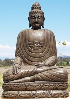 """Earth Touching Buddha Statue Stone 42""""#sculpture#carving"""