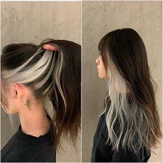 Two Color Hair, Hair Color Streaks, Hair Dye Colors, Cool Hair Color, Hair Highlights, Under Highlights, Hidden Hair Color, Hair Color Underneath, Underlights Hair