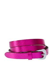 Neon metallic skinny belt