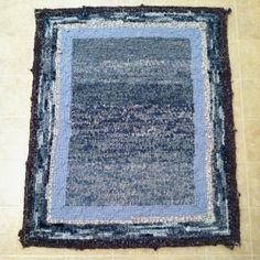 Denim Loop Rug by Ira Leigh  For instructions on how to make a loop rug click on the link below.  I originally got the idea from the Quilt Cottage in Hays, Kansas!   http://www.ehow.com/how_4464441_make-loop-rug.html