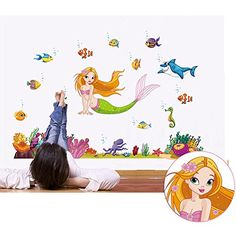 Winhappyhome Undersea World Mermaid Removable Wall Art Stickers for Kids Bedroom Living Room Background Decor Vinyl Decals *** Read more reviews of the product by visiting the link on the image. (Note:Amazon affiliate link)