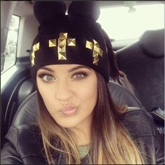 Black studded beanie hat with pom poms for women winter knit hats Beanie Hats For Women, Women Hats, Winter Knit Hats, Winter Caps, Knit Beanie Hat, Beanies, Hat Hairstyles, Classy And Fabulous, Snapback Hats