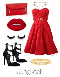 Bts prom- Jungkook  by ari2sk on Polyvore featuring polyvore, fashion, style, Notte by Marchesa, Kendall + Kylie, SUSU, Roberto Coin, Lime Crime and clothing