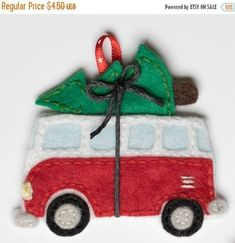 Items similar to Volkswagen bus with christmas tree ornament- pdf pattern on Etsy Felt Christmas Decorations, Christmas Ornaments To Make, Christmas Sewing, Christmas Projects, Felt Crafts, Handmade Christmas, Holiday Crafts, Christmas Crafts, Diy Ornaments