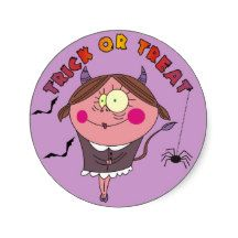 Cartoon Devil Girl Purple Halloween Stickers