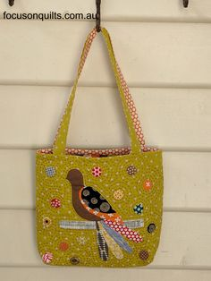 Measurement: x Description: The front of the bag includes applique of a bird as well as circles using the Bird Applique, Bird Crafts, Dark Brown Color, Fabric Birds, Hand Quilting, Applique Designs, My Design, Design Ideas, Purses And Bags