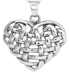 Sterling Silver Celtic Knotwork Heart Necklace, Special Price: £19.50