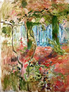 Berthe Morisot - Undergrowth in the Fall 1894 (Musee Marmottan Monet - Paris France) at Museo Thyssen-Bornemisza Madrid Spain French Impressionist Painters, Impressionist Artists, Landscape Art, Landscape Paintings, Landscapes, Berthe Morisot, Art Français, Pierre Auguste Renoir, Edouard Manet