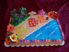 flip flop and flower cakes | ... , gumpaste flowers, palm trees, lei, beach towels and flip flops