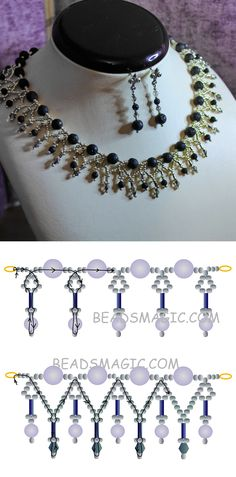 Free pattern for necklace Silvia seed beads 11/0 bugles crystal bicones 4 mm lava round beads 4 mm lava round beads 8 -10 mm