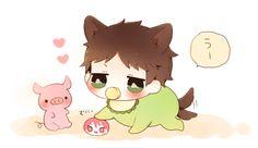 Loving the squishy bean ...  From nrmimi_ ... Free! - Iwatobi Swim Club, free!, iwatobi, sousuke, yamazaki, sousuke yamazaki, dog, puppy, pig, piglet