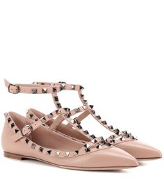 VALENTINO Rockstud Leather Ballerinas. #valentino #shoes #flats
