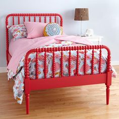 The Land of Nod | Kids' Beds: Kids Red Spindle Jenny Lind Bed in Beds