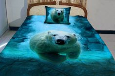 Polar bear quilt bear quilt swimming bear bedding set quilt cover and pillow covers bear duvet cover with two matching pillow covers