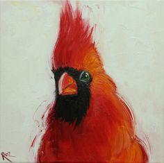 Cardinal 70 12x12 inch bird animal portrait original oil by RozArt