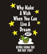 Why make a wish when you can live a dream with Alpha Sigma Tau?! This dreaming turtle is SO cute!