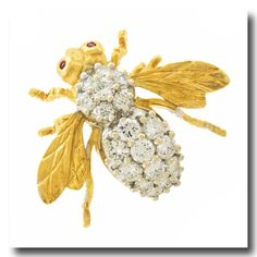Inv. #18012 Herbert Rosenthal Diamond Bee Pin 18k c1970s NYC