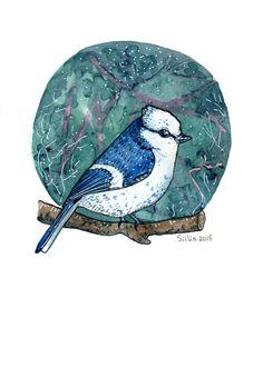 Bluetit watercolor by Anastasy Siilin