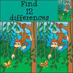 Stock vector of 'Children games: Find differences. Little cute monkey hangs on the tree and looks at the butterfly. Find The Difference Pictures, Spot The Difference Kids, Kitty Party Games, Cat Party, Find The Differences Games, Cambridge Exams, Children Games, Brain Teaser Puzzles, Hidden Pictures