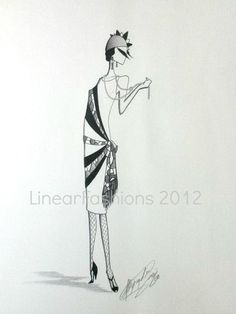 Fashion Illustration 1920s Flapper with Pearls by LinearFashions, $38.00.