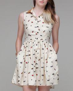 Collared Dress In Bug Print