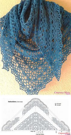 The blue shawl on a simple tape. - all in azhure . (Knitting by hook) - Country . Knitted Shawls, Crochet Scarves, Crochet Shawl, Crochet Clothes, Easy Crochet, Crochet Lace, Crochet Stitches, Free Crochet, Crochet Edging Patterns