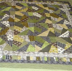 Queen size black grey green and tan crazy quilt by 4quiltsandmore