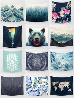 Society6 Blue Tapestries - Society6 is home to hundreds of thousands of artists from around the globe, uploading and selling their original works as 30+ premium consumer goods from Art Prints to Throw Blankets. They create, we produce and fulfill, and every purchase pays an artist. Room Tapestry, Blue Tapestry, The Sims, Home Decor Bedroom, Diy Home Decor, Bedroom Ideas, Muebles Sims 4 Cc, My New Room, Dorm Decorations