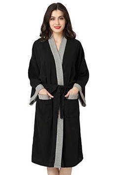 Aibrou Unisex Waffle Dressing Gown Cotton Lightweight Bath Robe for All  Seasons Spa Hotel Pool Sleepwear b9c786738