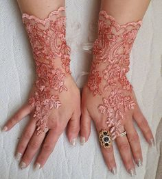 french lace  coral lace wedding gloves prom by DreamAndReality