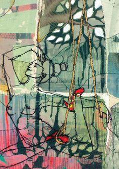 By Ditte Sørensen Size A5 art cards:  The original work: Free motion embroidery on textile, photo transfer, quilted. Danish: Det originale billede - Frihåndsbroderi på symaskine, fototransfer, quiltet.