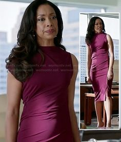 Jessica's magenta/purple size zip dress on Suits.  Outfit Details: http://wornontv.net/19223/ #Suits #USA